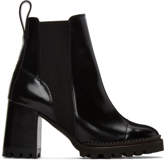 See by Chloe Black Leather Mallory Heeled Boots