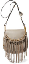 Chloé Hudson Small Whipstitched Tasseled Leather Shoulder Bag - Gray
