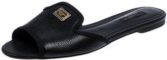 Dolce & Gabbana Black Lizard Embossed Leather Sofia Slides Size 37.5