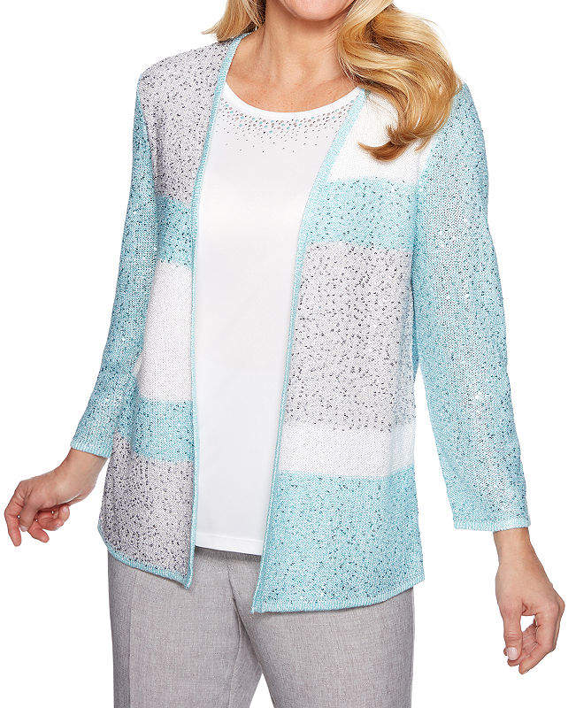 Versailles Womens Crew Neck Long Sleeve Floral Pullover Sweater-