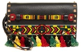 Valentino Rockstud bead-embellished leather clutch