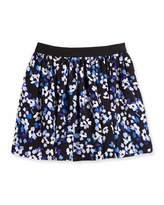 Kate Spade Hydrangea Floral Crepe Skirt, Black/Blue, Size 7-14