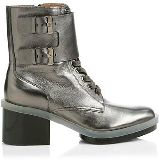 Clergerie Eden Metallic Leather Combat Boots