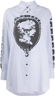 McQ Swallow Cameo Print Striped Shirt