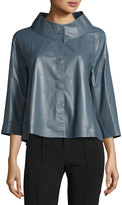 Lafayette 148 New York Gisella Leather Snap-Front Topper, Earl Gray