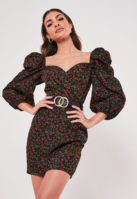 Missguided Red Floral Puff Sleeve Mini Dress