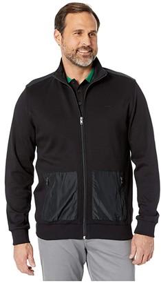 Calvin Klein Long Sleeve Mix Media Nylon Pocket Full Zip Mock Neck (Black Combo) Men's Sweatshirt