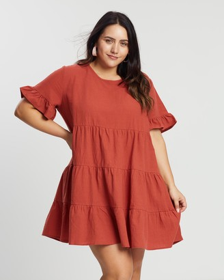 Atmos & Here Atmos&Here Curvy - Women's Red Mini Dresses - Lily Smock Dress - Size 18 at The Iconic