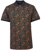 Pretty Green Gretton Paisley Polo Top, Grey/navy/yellow
