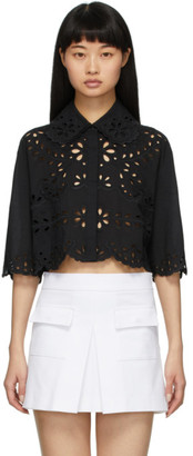 RED Valentino Black Cropped St. Gallen Shirt