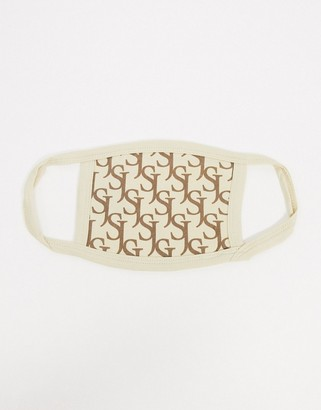 Sixth June face covering in beige monogram print
