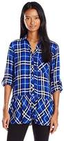 My Michelle Juniors Plaid Button Front Shirt with Roll Tab Sleeves