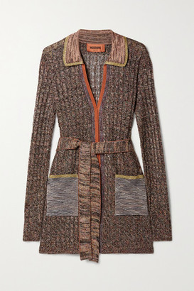 Missoni Belted Metallic Cable-knit Cardigan - Gray