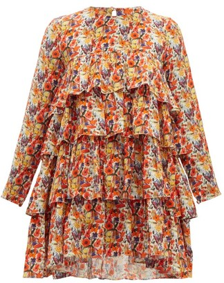 Muzungu Sisters - Jila Floral-print Silk-crepe Mini Dress - Womens - Orange Multi