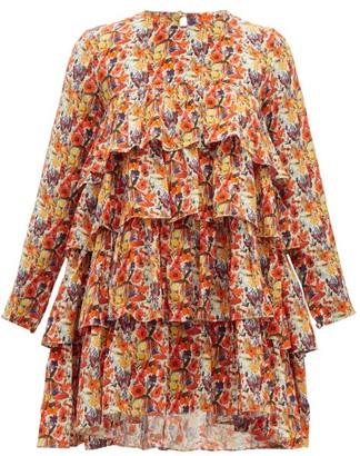 Muzungu Sisters - Jila Floral Print Silk Crepe Mini Dress - Womens - Orange Multi