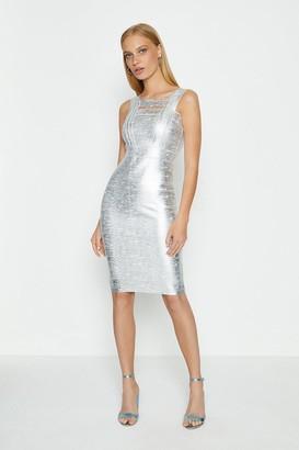 Coast Square Neck Metallic Dress