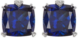 Judith Ripka Romance Cushion Cut Blue Sapphire & White Topaz Stud Earrings