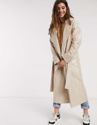 Asos DESIGN vinyl trench coat in nude