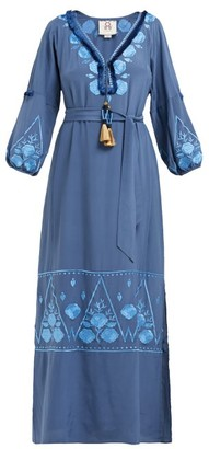 Figue Lola Floral Embroidered Silk Crepe Dress - Womens - Blue Print