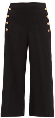 Versace Medusa-button Wide-leg Wool-blend Trousers - Black