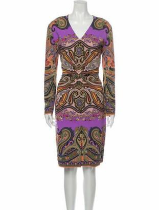 Etro Paisley Print Knee-Length Dress w/ Tags Purple