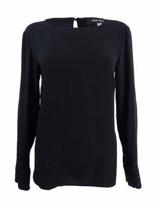 Nine West Women's Long Sleeve Light Weight Crepe Blouse with Lace Cuffs