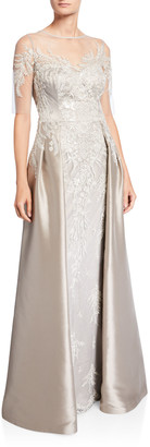 Rickie Freeman For Teri Jon Beaded Column Gown w/ Overskirt