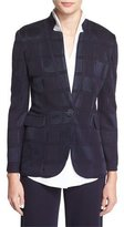 Misook Textured Square One-Button Jacket, Navy, Petite