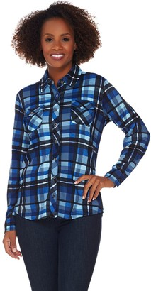 Denim & Co. Brushed Heavenly Jersey Plaid Button Front Shirt