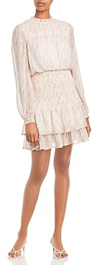 Aqua Dot Long Sleeve Smocked Mini Dress - 100% Exclusive