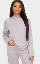 Ctg Clot Petite Grey Ribbed Oversized Hoodie