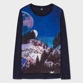 Paul Smith Women's Navy Long-Sleeve T-Shirt With 'Snowy Mountain' Print