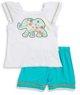 Flapdoodles Girl's Elephant Tee and Shorts Set