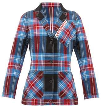 Charles Jeffrey Loverboy Tartan-checked Cotton-blend Seersucker Blazer - Womens - Blue Multi