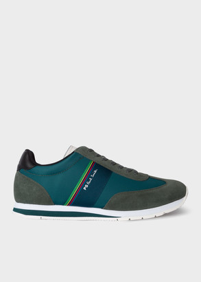 Paul Smith Men's Green 'Prince' Trainers With 'Sports Stripe' Webbing