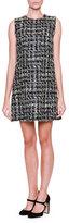 Dolce & Gabbana Sleeveless Tweed Shift Dress, Gray/Black/Multi
