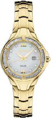 Seiko Women Solar Diamond Collection Diamond-Accent Gold-Tone Stainless Steel Bracelet Watch 29mm