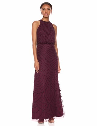 Adrianna Papell Women's Art Deco Beaded Blouson Dress with Halter Neckline