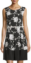 Neiman Marcus Sleeveless Floral-Print Dress W/Belt, Black/White
