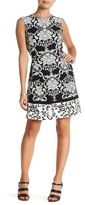 Sandra Darren Printed Scuba Fit & Flare Dress (Petite)