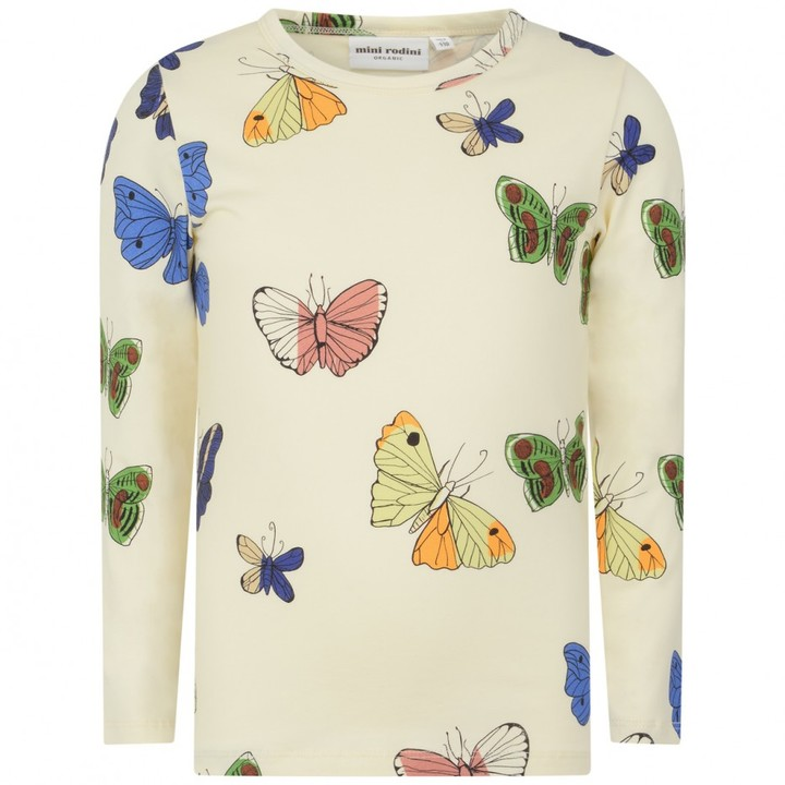 Girls Ivory Butterfly Print Top