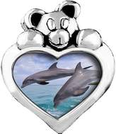 GiftJewelryShop Two Cute Jump Dolphin Sapphire Crystal September Birthstone I Love You Heart Care Bear Charm Bracelets