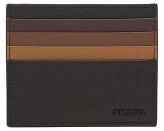 Prada Saffiano leather colour-block cardholder