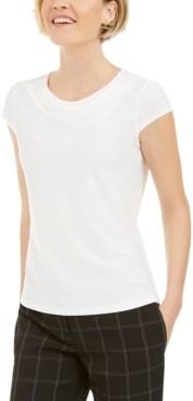 Kasper Cowl-Neck Short-Sleeve Top