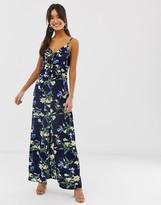 Brave Soul cami strap maxi dress in navy floral