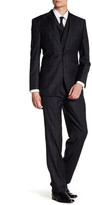 English Laundry Charcoal Check Two Button Peak Lapel 3-Piece Wool Trim Fit Suit