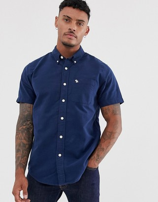 Abercrombie & Fitch icon logo short sleeve oxford shirt in navy