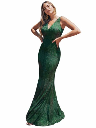 Ever Pretty Ever-Pretty Women's Elegant V Neck Floor Length Sequin Body con Mermaid Wedding Party Dresses Dark Green 18UK