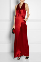 Tibi Serpentine wrap-effect satin gown