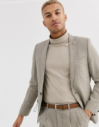 Twisted Tailor super skinny fit suit jacket in brown dogstooth-Tan